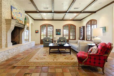 Mediterranean Living Room With Carpet Stone Fireplace In | mediterranean living room with carpet stone fireplace in