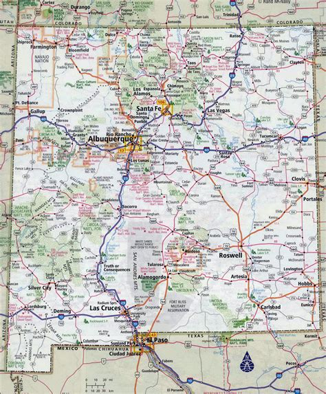 map of usa and mexico with cities large detailed roads and highways map of new mexico state