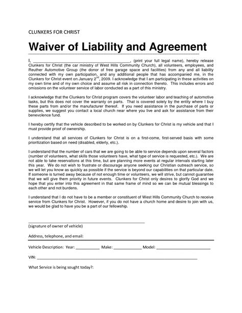 indemnity waiver template sle waiver form template qualads
