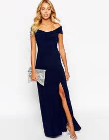 Blue off shoulder maxi dress dress and bottoms