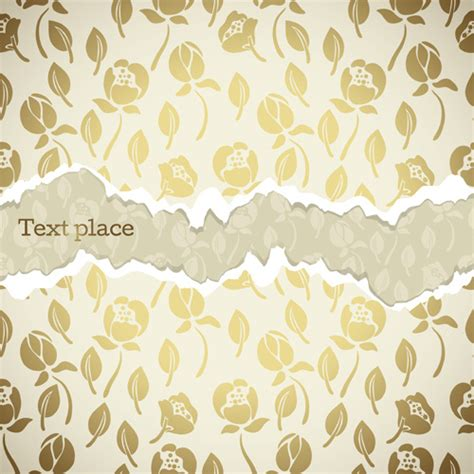newspaper pattern ai torn paper with flower pattern background free vector in