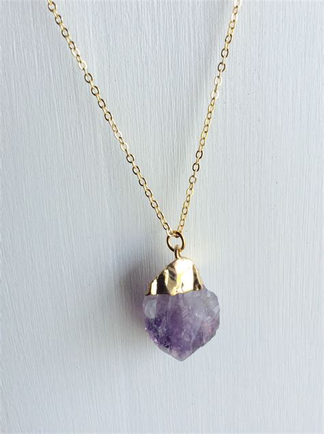 Handmade Amethyst Necklace - gold cut amethyst necklace handmade jewelry by