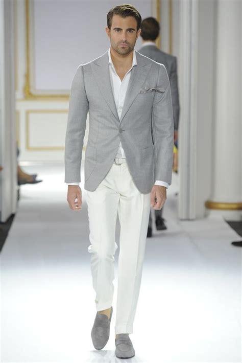 light gray blazer mens grey suit white pants go suits