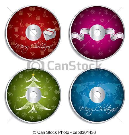 vector of christmas cd design set christmas theme cd and