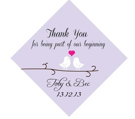 thank you cards for wedding dinner plates template birds personalized wedding thank you favour gift tags