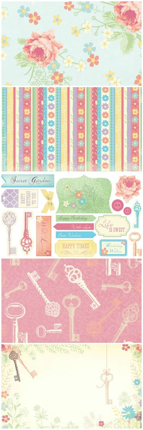 Free Papers For Card - be enchanted by our free secret garden printable papers