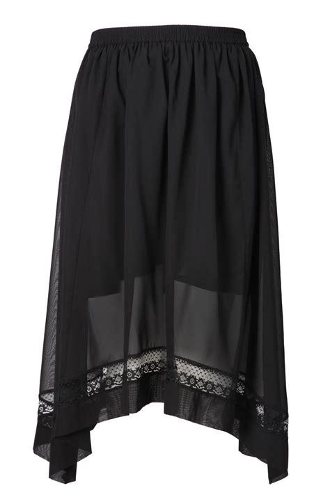 Hanky Hem Skirt black hanky hem georgette skirt with lace trim plus size