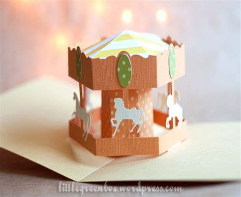carousel pop up card template circus pop up workshop green box carousel and box