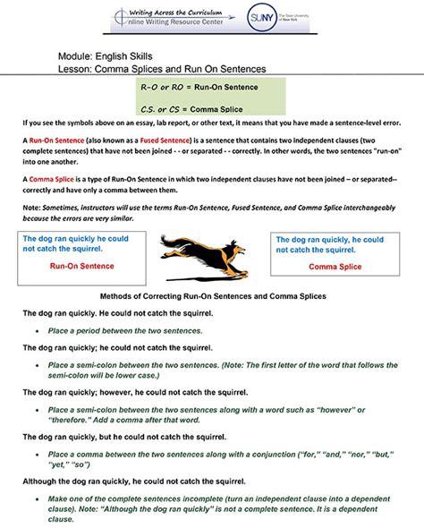 Run On Sentence Worksheet Pdf by Skills Writing Resource Center Writing