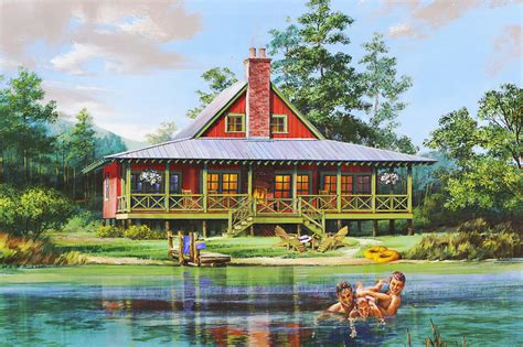 Cabin Style House Plan   2 Beds 2 Baths 1665 Sq/Ft Plan