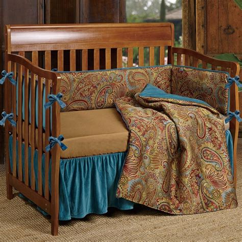 western crib bedding western teal paisley crib bedding collection cabin place