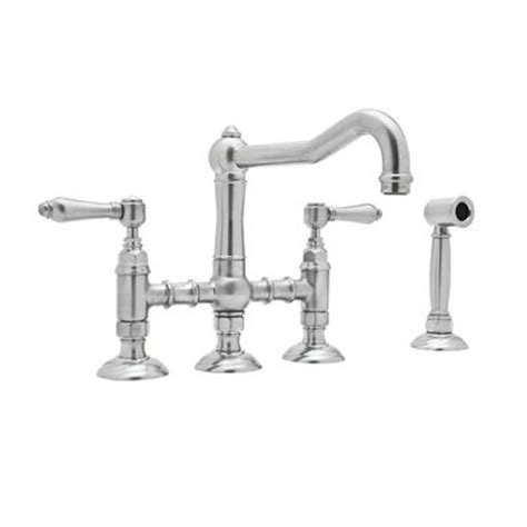 rohl country 2 handle bridge kitchen faucet with side