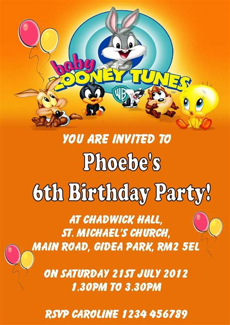 Looney Tunes Invitations Templates Personalised Baby Looney Tunes Birthday Card