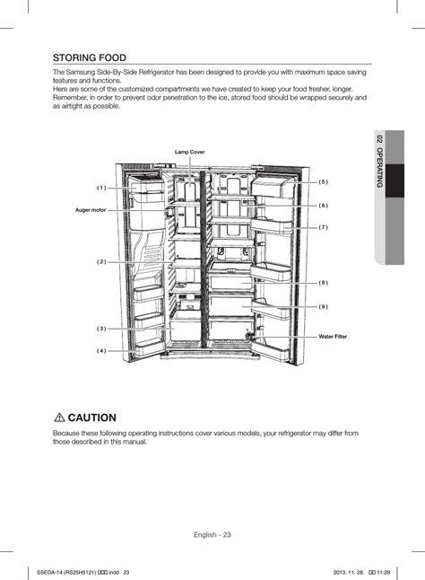 Caution Storing Food Samsung Rs25h5000sr Aa User Manual