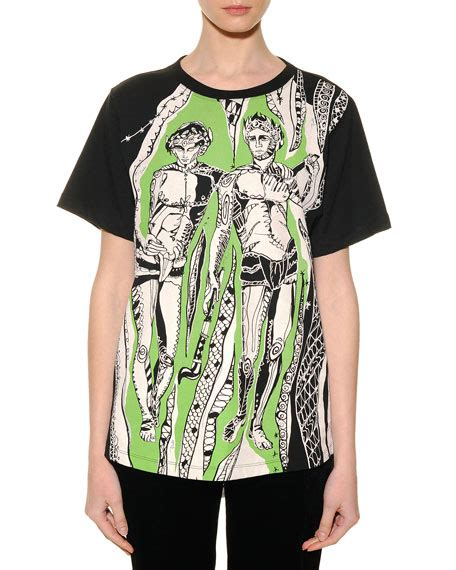 Emilio Pucci Roscone Print T Back Top It Or It by Emilio Pucci Gemini Graphic Print Sheer Back T Shirt