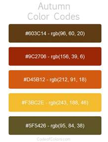 code colors autumn color palette fall hex and rgb color codes