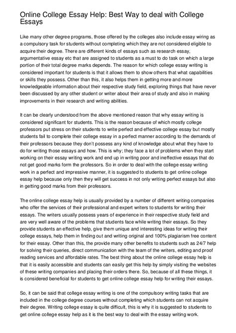 The Best Essay by College Essay Help Best Way To Deal With College Essays
