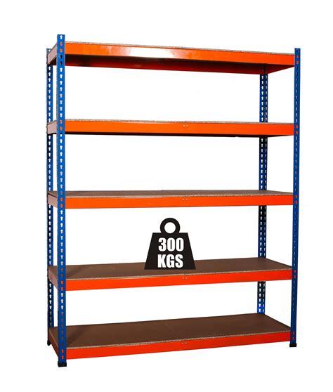 1 x workshop garage heavy duty 5 tier blue orange storage