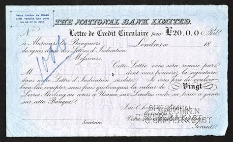 Bank Letter Of Credit For Auction National Bank Limited Ca 1860 80 S Specimen Letter Of Credit Archives International Auctions