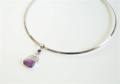 silver choker necklace with turquoise and amethyst