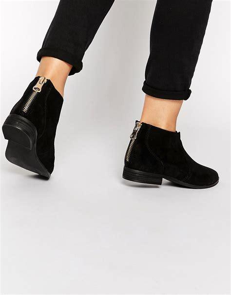 aldo aldo rairdon black suede flat ankle boots at asos