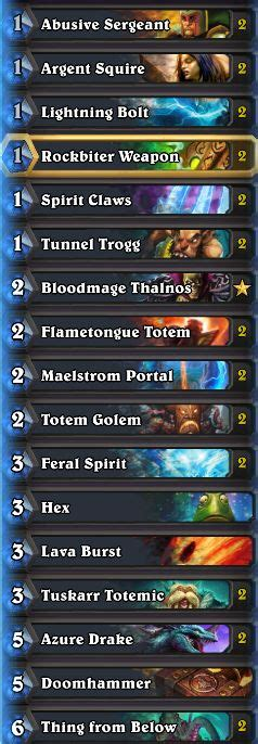 shaman deck builds hearthstone heroes of warcraft karazhan standard deck