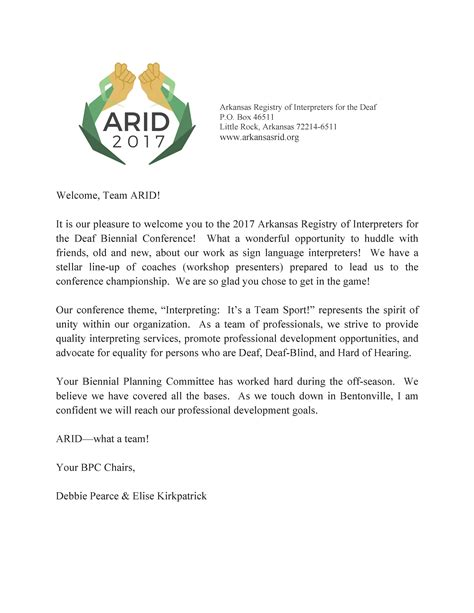 Conference Welcome Letter