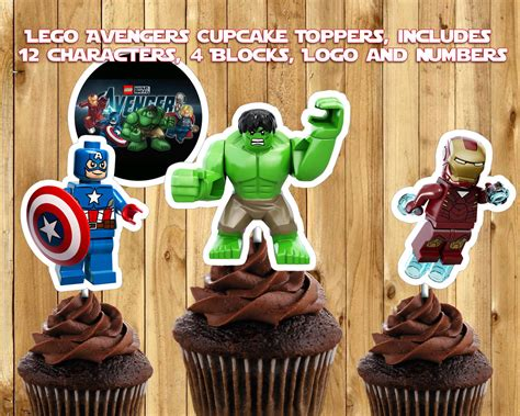 avengers printable party decorations printable lego avengers cupcake toppers instbirthday