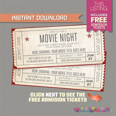 printable movie night tickets movie night invitation with free admission tickets movie