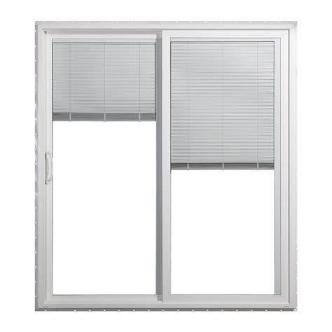 Slider Blinds Patio Doors Shop Jeld Wen 59 5000 In Blinds Between The Glass White Vinyl Sliding Patio Door With Screen At