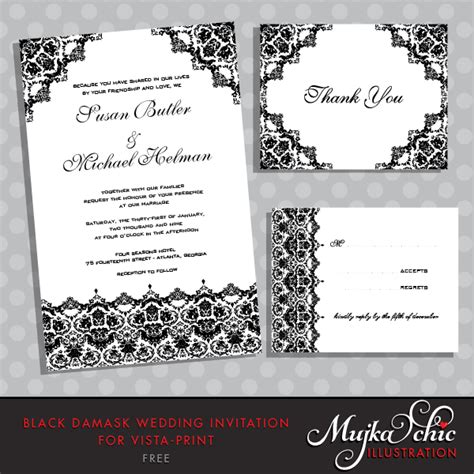 free damask wedding invitation template mujka clipart