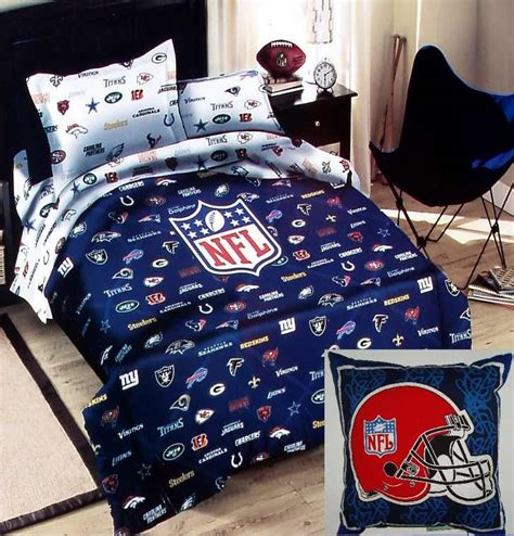 football bedding set nfl football teams logos blue twin comforter sheets pillow