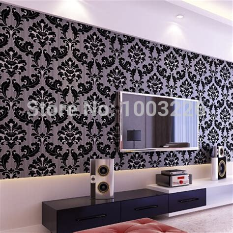Black Damask Wallpaper Home Decor Popular Black Damask Wallpaper Buy Cheap Black Damask Wallpaper Lots From China Black Damask