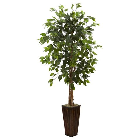 Tree In A Planter by 5 5 Silk Ficus Tree With Bamboo Planter Artificial
