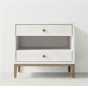 White Nightstand White Shagreen Two Drawer Nightstand