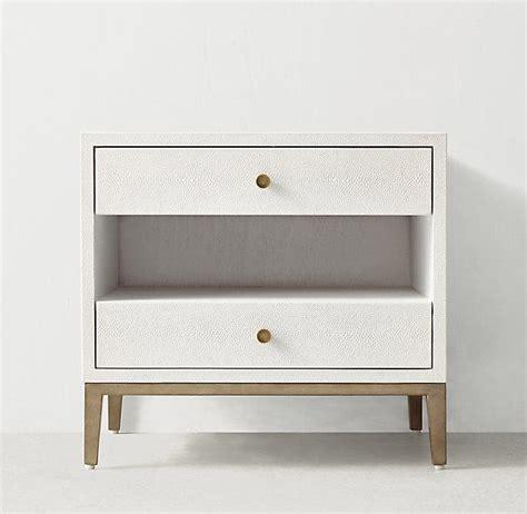 white shagreen two drawer nightstand