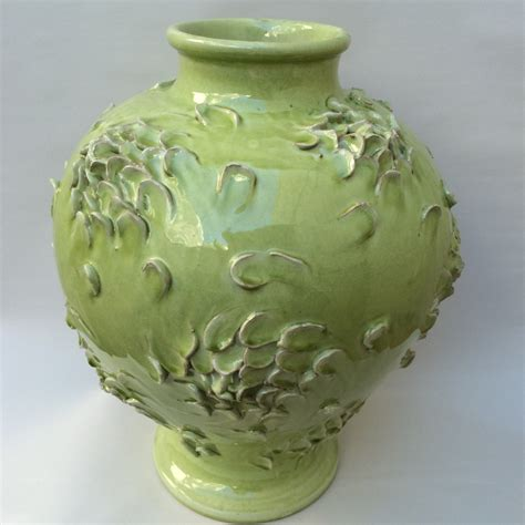 Handmade Italian Pottery - ndd textured celadon vase with swirling petals design 800