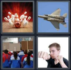 4 pics 1 word answer for bowling jet protest punch
