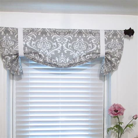 Tie Up Valance Kitchen Curtains Tie Up Curtain Valance Gray White Damask By Supplierofdreams