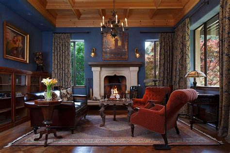 Exceptional How To Place A Rug In A Living Room #2: Elegant-living-room-with-fireplace-and-blue-walls-with-wood-ceiling-16.jpg