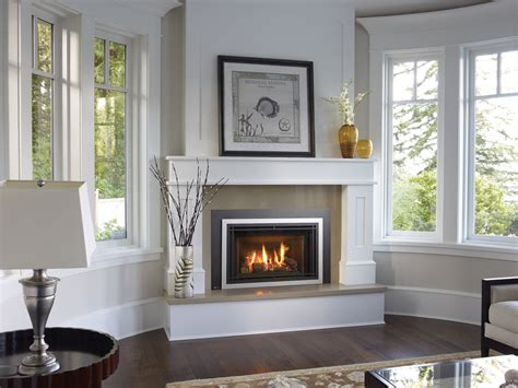 pretty fireplace design for corner living room with white