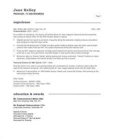 Broadcast Producer Sle Resume by Broadcast Producer Resume