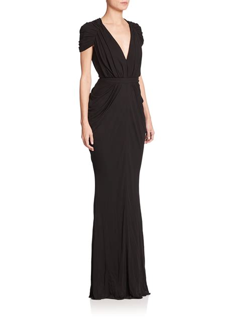 draped gown alexander mcqueen draped cap sleeve gown in black lyst