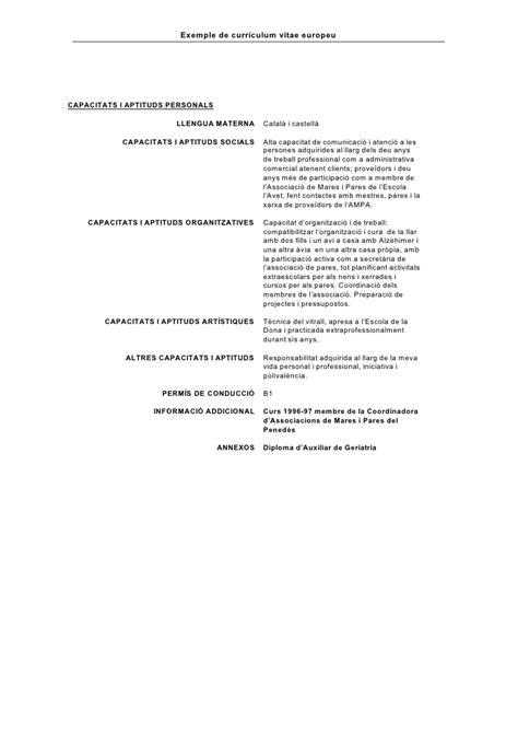 Plantilla De Curriculum Catala Exemple Cv Europeu Catal 224