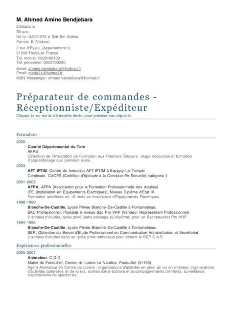 modele cv gratuit preparateur de commande document