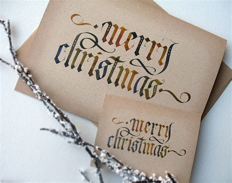 calligraphy christmas cards  behance