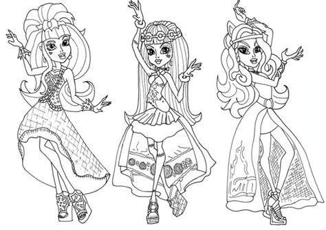 monster high thanksgiving coloring pages draculaura and friends in dancer clothes in monster high
