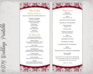 wedding program template maroon quot lace quot diy order of