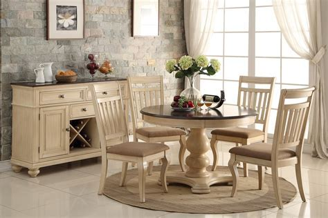 """48"""" Round Off White Brown Cherry Dining Table Set"""