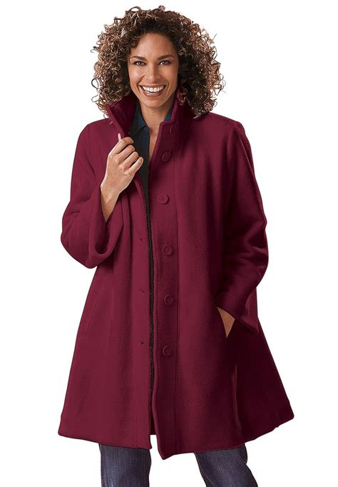 Jacket Swing Style In Cozy Fleece Plus Size Fleece